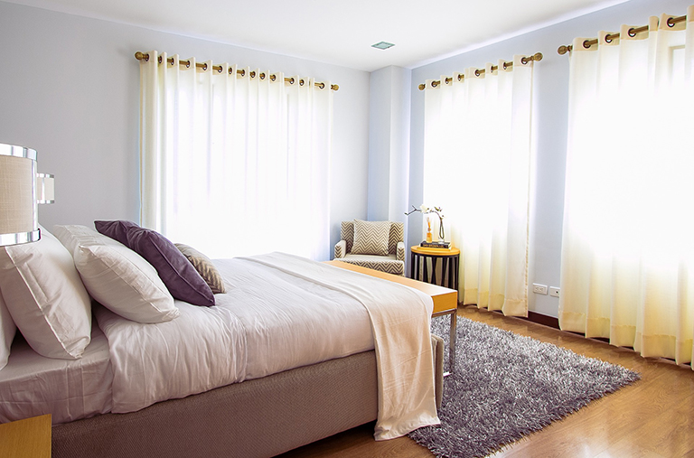 Bedroom decorated for home staging