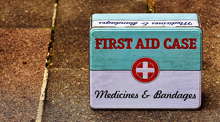 first aid kit after the earthquake in torrevieja