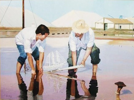 painting of salt workers making a salt ship