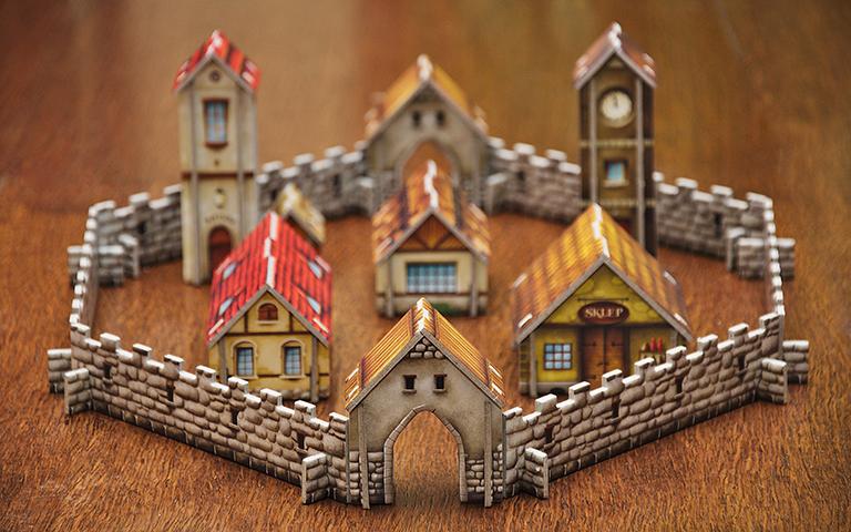 Casas amuralladas en miniatura. Derechos del vendedor al trabajar en exclusiva.